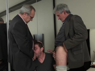 TWO daddies in their 60s fuck younger guy